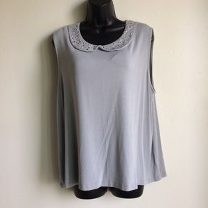 George Soft Gray Top Crystal Accents Size XXL